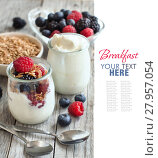 Купить «Healthy breakfast with Fresh greek yogurt, flakes and berries», фото № 27957054, снято 25 февраля 2018 г. (c) PantherMedia / Фотобанк Лори