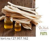 Купить «Wholegrain artisan pasta and olive oil», фото № 27957162, снято 22 августа 2018 г. (c) PantherMedia / Фотобанк Лори