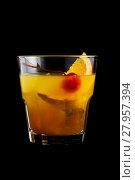 Купить «Mai Tai cocktails on black background», фото № 27957394, снято 20 августа 2018 г. (c) PantherMedia / Фотобанк Лори