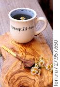 Купить «Chamomile tea with chamomile daisy flowers», фото № 27957650, снято 19 марта 2019 г. (c) PantherMedia / Фотобанк Лори