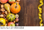 Купить «Autumn border on a wooden table», фото № 27959654, снято 23 мая 2018 г. (c) PantherMedia / Фотобанк Лори