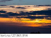 Купить «Birds flying in sunset», фото № 27961914, снято 22 сентября 2019 г. (c) PantherMedia / Фотобанк Лори