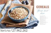 Купить «Rolled oats in a bowl», фото № 27962262, снято 22 августа 2018 г. (c) PantherMedia / Фотобанк Лори