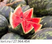 Купить «Open watermelon on a market», фото № 27964454, снято 27 февраля 2020 г. (c) PantherMedia / Фотобанк Лори