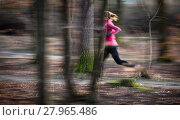 Купить «Young woman running outdoors in a city park on a cold fall/winter day», фото № 27965486, снято 23 мая 2019 г. (c) PantherMedia / Фотобанк Лори