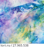 abstract blue and yellow painted silk batik. Стоковое фото, фотограф Valery Vvoennyy / PantherMedia / Фотобанк Лори