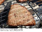 Купить «Grilled beef steak cooking on barbecue grill», фото № 27965678, снято 16 июля 2019 г. (c) PantherMedia / Фотобанк Лори