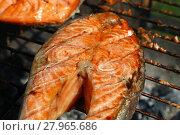 Купить «Salmon fish steak barbecue grill cooking close up», фото № 27965686, снято 17 июля 2019 г. (c) PantherMedia / Фотобанк Лори