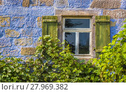 Купить «Blue house wall with window and vines», фото № 27969382, снято 17 октября 2018 г. (c) PantherMedia / Фотобанк Лори