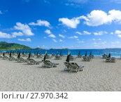 Купить «The chairs and umbrellas on tropical beach», фото № 27970342, снято 20 февраля 2019 г. (c) PantherMedia / Фотобанк Лори