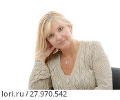 Купить «Portrait of mature smiling blond woman», фото № 27970542, снято 20 февраля 2019 г. (c) PantherMedia / Фотобанк Лори