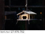 Купить «Handcrafted log cabin birdhouse. Close-up», фото № 27970702, снято 21 октября 2018 г. (c) PantherMedia / Фотобанк Лори