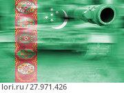Купить «military strength theme,motion blur tank with turkmenistan flag», фото № 27971426, снято 15 июня 2019 г. (c) PantherMedia / Фотобанк Лори