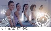 Купить «Athletic fit group of women in gym with health interface», фото № 27971662, снято 10 апреля 2020 г. (c) Wavebreak Media / Фотобанк Лори