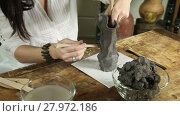 Купить «Close-up of hands of a sculptor woman making a sculpture from raw clay», видеоролик № 27972186, снято 20 декабря 2015 г. (c) Алексей Кузнецов / Фотобанк Лори