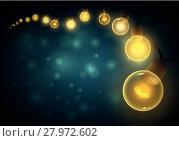 Купить «Old style warm bulbs hanging on the bokeh night background. Vector illustration. Copy space. Ideal for christmas, new year, ramadan or all festive holidays.», иллюстрация № 27972602 (c) PantherMedia / Фотобанк Лори