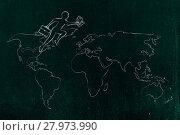 Купить «business man jumpying across continents on map of the world», фото № 27973990, снято 18 марта 2018 г. (c) PantherMedia / Фотобанк Лори