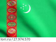 Купить «Flag of Turkmenistan waving with fabric texture», фото № 27974570, снято 15 июня 2019 г. (c) PantherMedia / Фотобанк Лори