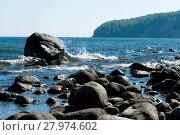 Купить «Baltic coastline with big rocks and braking waves», фото № 27974602, снято 11 декабря 2018 г. (c) PantherMedia / Фотобанк Лори