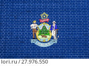 Купить «Flag of Maine on brick wall texture background», фото № 27976550, снято 21 марта 2019 г. (c) PantherMedia / Фотобанк Лори