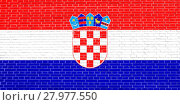 Купить «Flag of Croatia on brick wall texture background», фото № 27977550, снято 21 марта 2019 г. (c) PantherMedia / Фотобанк Лори