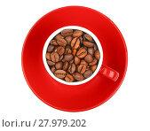 Купить «Coffee beans in red espresso cup isolated on white», фото № 27979202, снято 11 декабря 2018 г. (c) PantherMedia / Фотобанк Лори