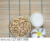 Купить «Fresh Soy milk (Soya milk) in a glass and soybean seeds», фото № 27987998, снято 21 февраля 2018 г. (c) PantherMedia / Фотобанк Лори