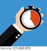 Купить «hand with stopwatch 25 seconds 25 minutes or 5 hours», фото № 27988870, снято 23 мая 2018 г. (c) PantherMedia / Фотобанк Лори