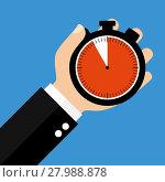 Купить «hand with stopwatch 55 seconds 55 minutes or 11 hours», фото № 27988878, снято 23 мая 2018 г. (c) PantherMedia / Фотобанк Лори