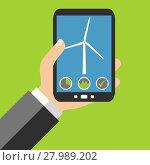 Купить «data from the windmill on the smartphone», фото № 27989202, снято 11 декабря 2018 г. (c) PantherMedia / Фотобанк Лори
