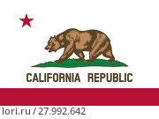 Купить «Flag of California correct size color illustration», иллюстрация № 27992642 (c) PantherMedia / Фотобанк Лори