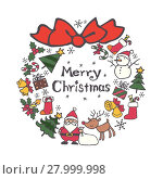 Купить «Christmas wreath with christmas elements (Santa Clause, Christmas tree, reindeer, snowman)», иллюстрация № 27999998 (c) PantherMedia / Фотобанк Лори