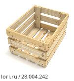 Купить «Empty wooden crate. Side view. 3D», фото № 28004242, снято 16 июня 2019 г. (c) PantherMedia / Фотобанк Лори