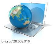 Купить «Laptop with illustration of earth globe, Asia and Oceania view. 3D», фото № 28008910, снято 19 октября 2019 г. (c) PantherMedia / Фотобанк Лори