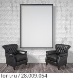 Купить «Blank picture frame with black armchairs. Mock up poster. 3D», фото № 28009054, снято 20 марта 2019 г. (c) PantherMedia / Фотобанк Лори