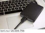Купить «External Hard Disk Over Laptop Keyboard», фото № 28009794, снято 15 августа 2018 г. (c) PantherMedia / Фотобанк Лори