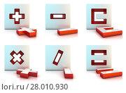 Купить «Plus, minus, multiply, divide, equally and clear sign. 3D», фото № 28010930, снято 21 октября 2018 г. (c) PantherMedia / Фотобанк Лори