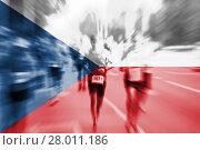 Купить «marathon runner motion blur blending with czech republic flag», фото № 28011186, снято 23 мая 2019 г. (c) PantherMedia / Фотобанк Лори