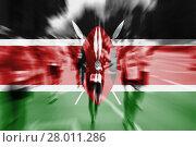 Купить «marathon runner motion blur blending with kenya flag», фото № 28011286, снято 23 мая 2019 г. (c) PantherMedia / Фотобанк Лори
