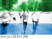 Купить «marathon runner motion blur blending with sierra leone flag», фото № 28011386, снято 23 мая 2019 г. (c) PantherMedia / Фотобанк Лори