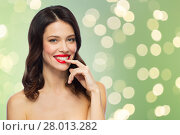 Купить «beautiful smiling young woman with red lipstick», фото № 28013282, снято 5 января 2018 г. (c) Syda Productions / Фотобанк Лори