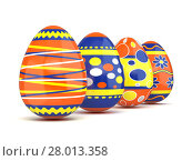 Купить «Row of colorful spring Easter eggs. 3D», иллюстрация № 28013358 (c) PantherMedia / Фотобанк Лори