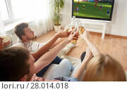 Купить «friends clinking beer and watching soccer game», фото № 28014018, снято 14 августа 2016 г. (c) Syda Productions / Фотобанк Лори