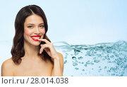 Купить «beautiful smiling young woman with red lipstick», фото № 28014038, снято 5 января 2018 г. (c) Syda Productions / Фотобанк Лори