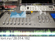 Купить «music mixing console at sound recording studio», фото № 28014182, снято 18 августа 2016 г. (c) Syda Productions / Фотобанк Лори