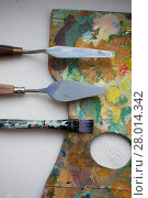 palette knives or painting spatulas and brush. Стоковое фото, фотограф Syda Productions / Фотобанк Лори