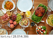 Купить «various food on served wooden table», фото № 28014386, снято 5 октября 2017 г. (c) Syda Productions / Фотобанк Лори