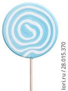 Купить «Round lollipop with blue and white swirls», фото № 28015370, снято 24 февраля 2018 г. (c) PantherMedia / Фотобанк Лори