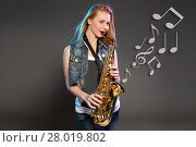Купить «beautiful blonde as saxophonist woman», фото № 28019802, снято 15 августа 2018 г. (c) PantherMedia / Фотобанк Лори