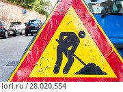 Купить «Road construction sign.», фото № 28020554, снято 16 июля 2019 г. (c) PantherMedia / Фотобанк Лори